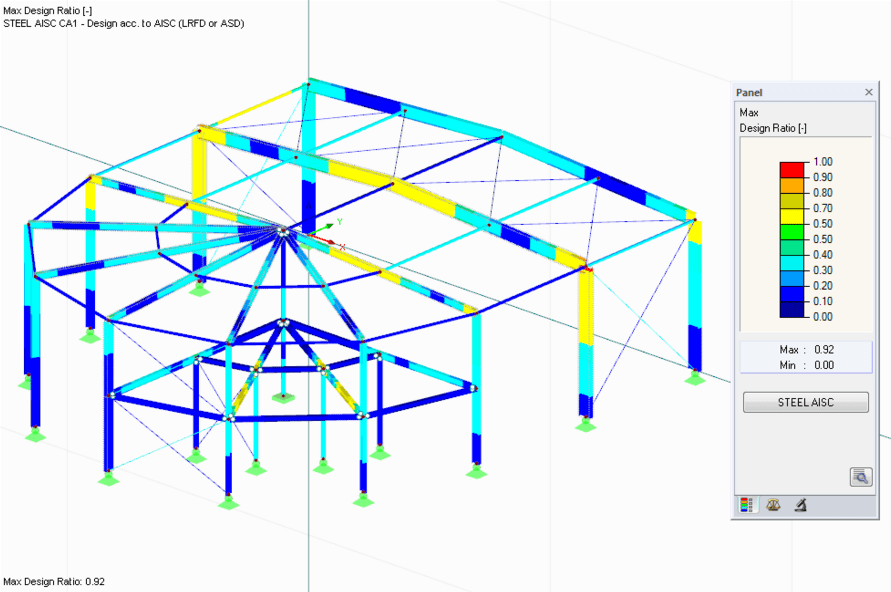 Design results of RF-/STEEL AISC in 3D rendering
