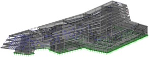 RFEM model of Element 1 of Science Park in Linz, Austria
