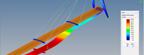 RFEM model of pylon bridge with representation of deformation