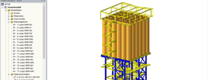 3D model of the supporting structure of the dry mixing plant in RSTAB (© www.dw-ingenieure.de)