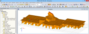 3D model of the wooden supporting structure in RFEM (© Dr. Ing. Berger, Dr. Ing. Gadner Merano)