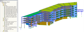 Modello 3D dell'edificio A in RFEM (© DBC AS)