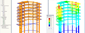 3D model and deformation of the look-out tower in RSTAB (© WIEHAG GmbH)