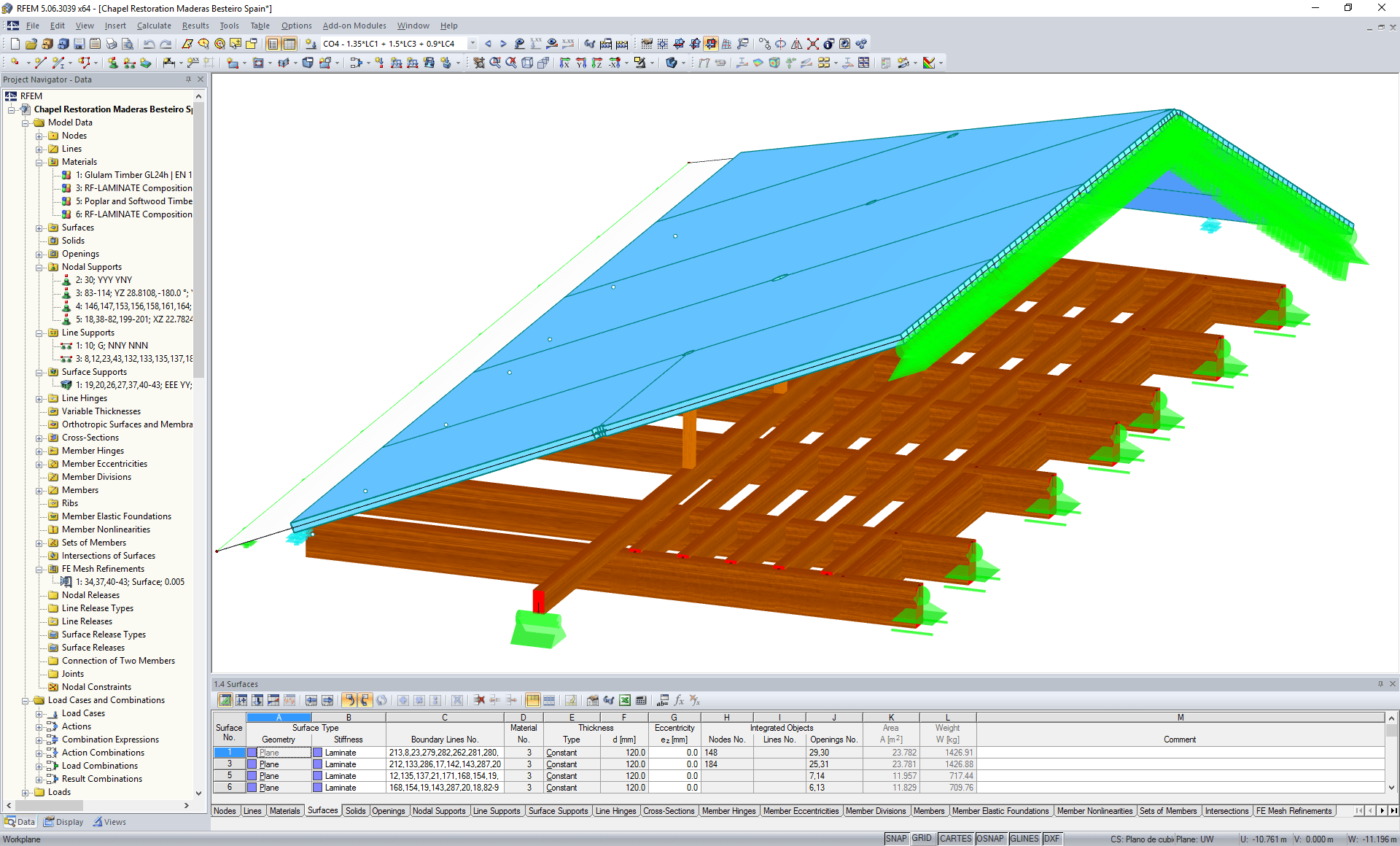 Model of chapel roof restoration in RFEM (© Maderas Besteiro S.L.)