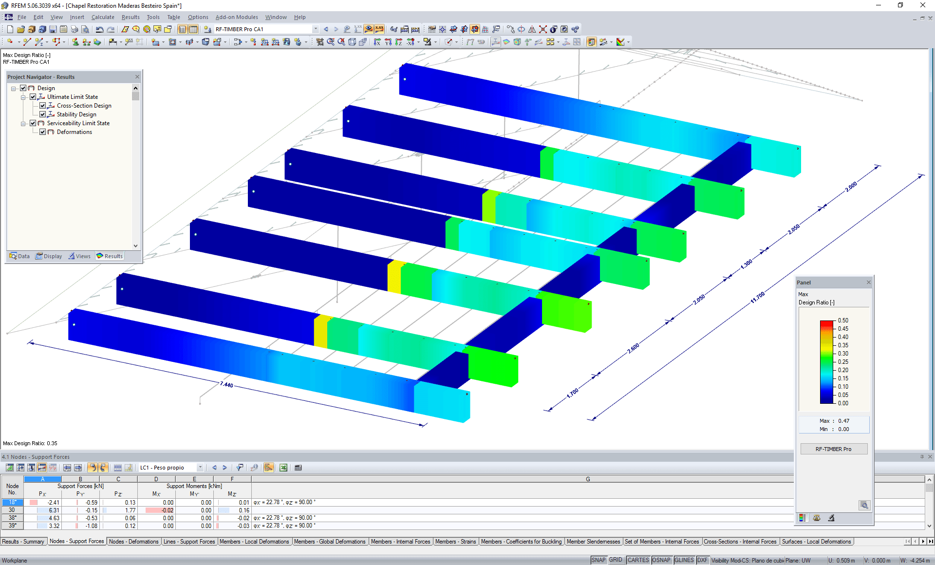 Design of timber beams in the RF-TIMBER Pro add-on modules (© Maderas Besteiro S.L.)