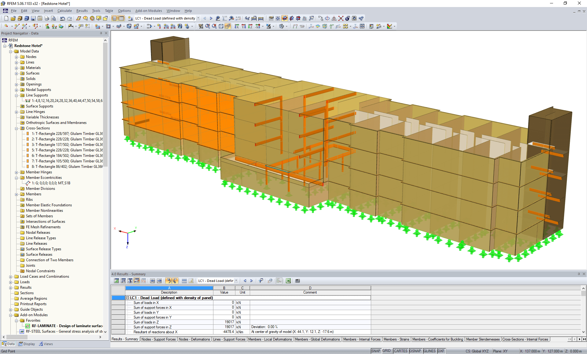 3D model of hotel structure in RFEM