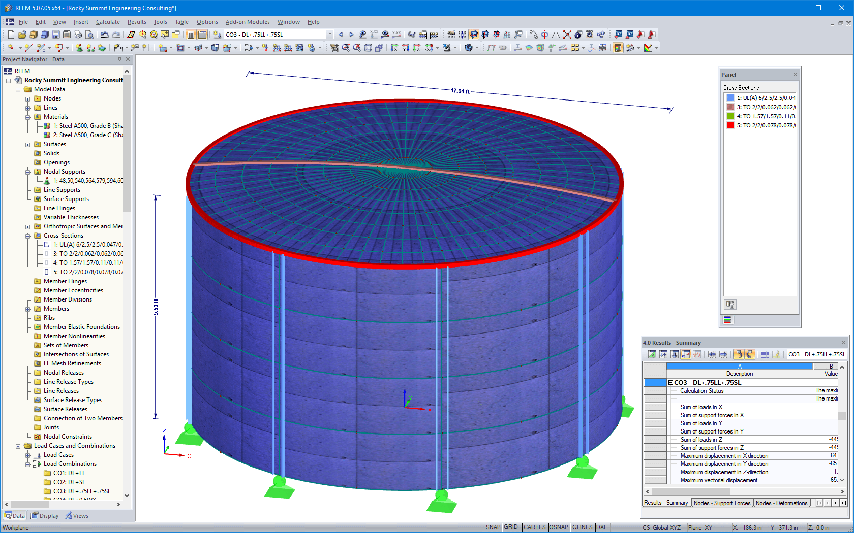 3D model of water tank in RFEM