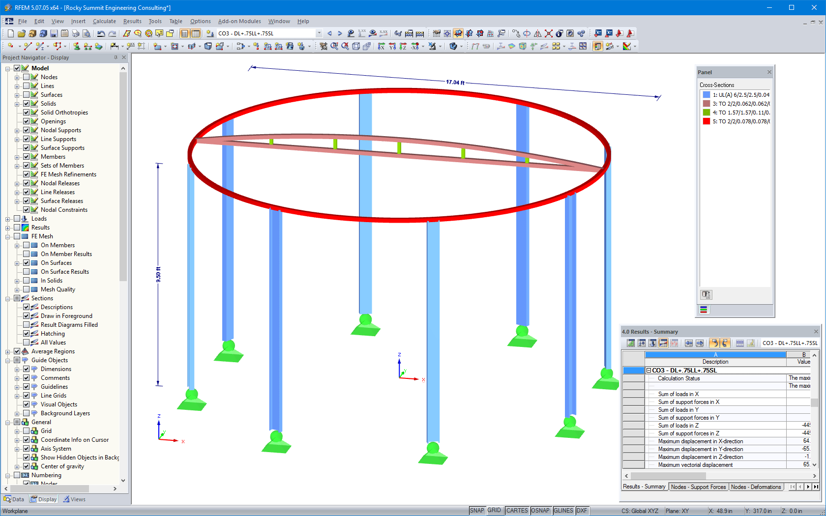 RFEM model of beam structure including dimensions