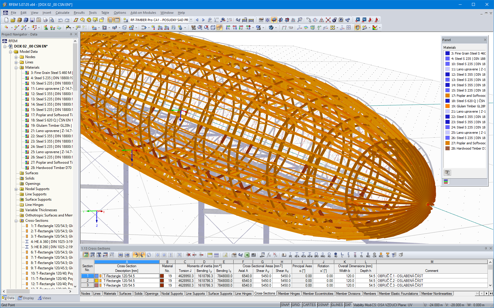 Display of bare timber structure in RFEM