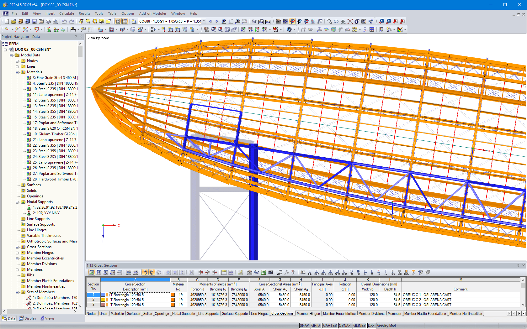 Longitudinal view of the airship structure in RFEM
