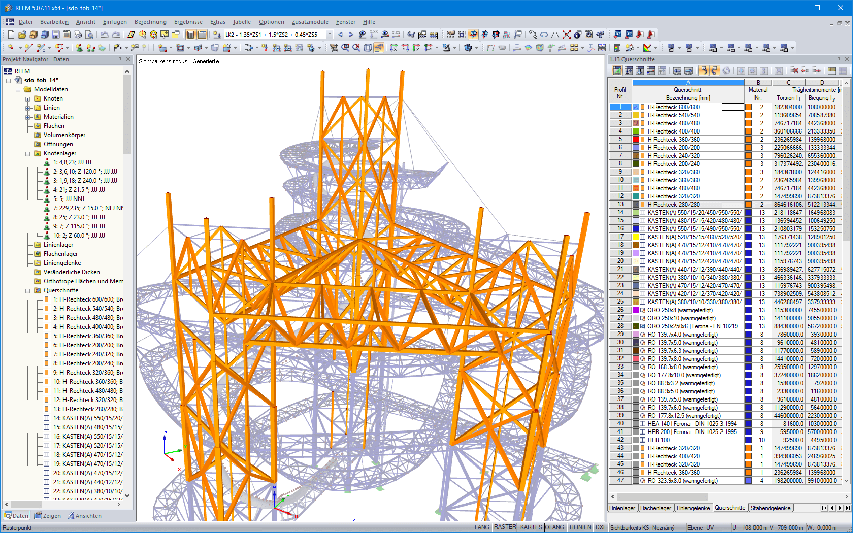 Tragende Holzkonstruktion in RFEM