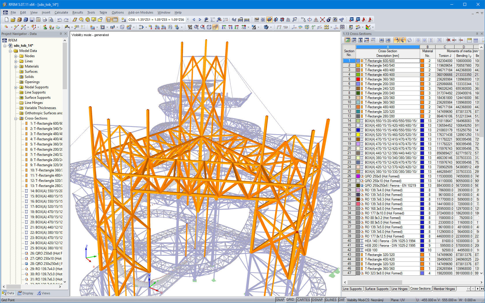 Timber supporting structure of towers in RFEM