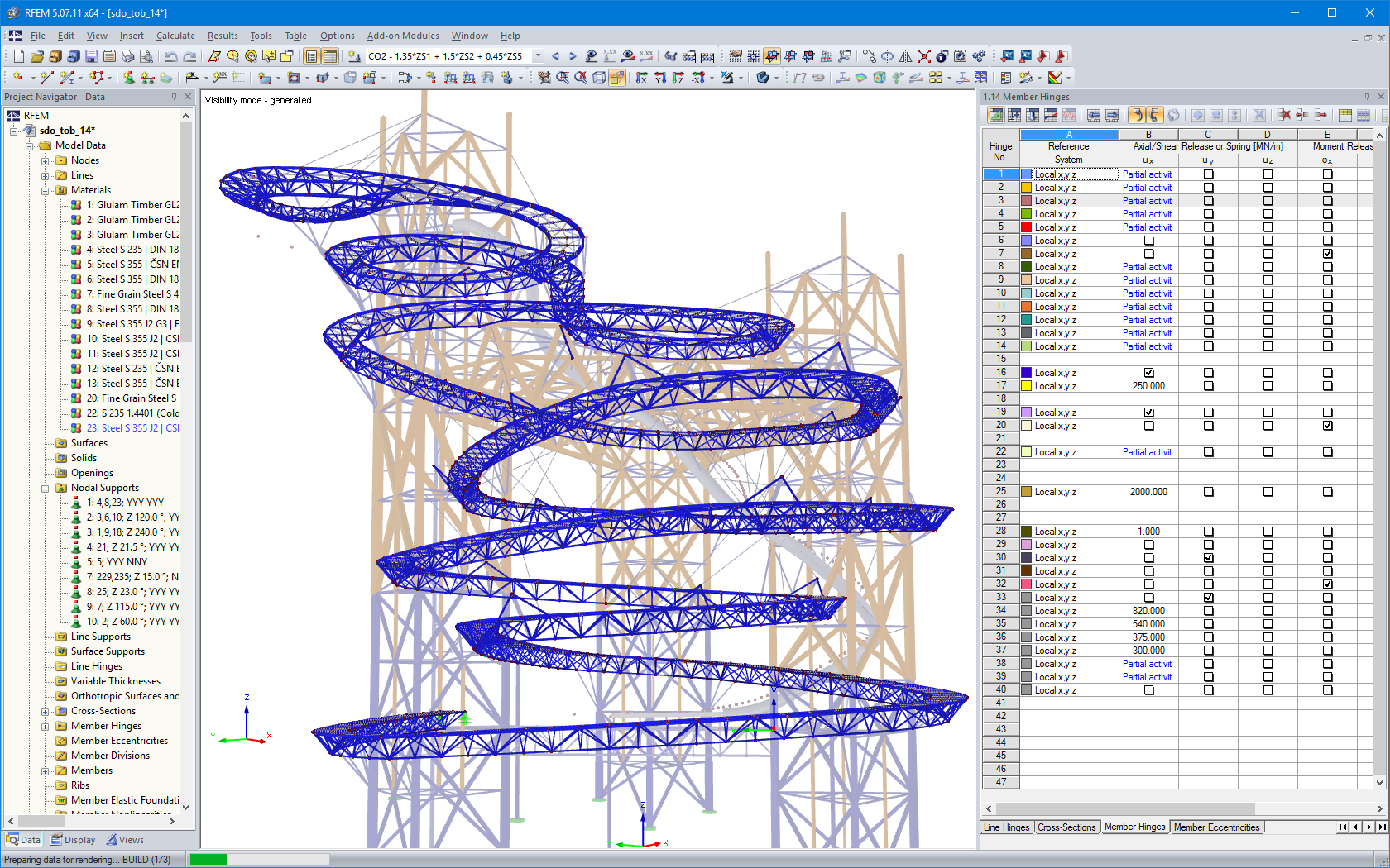 Steel supporting structure of pathway in RFEM
