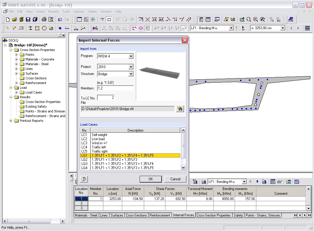 Importing internal forces from RFEM or RSTAB