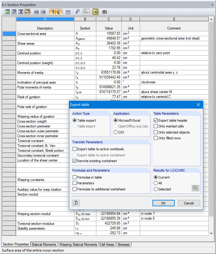 Data export to MS Excel