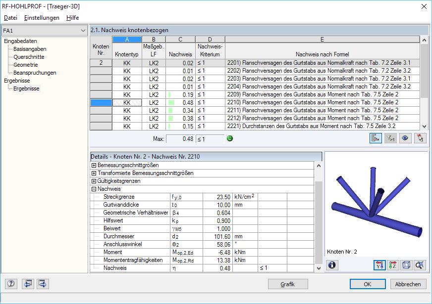 Hohlprof hohlprofilverbindungen nach eurocode 3 dlubal for Rahmen berechnen statik