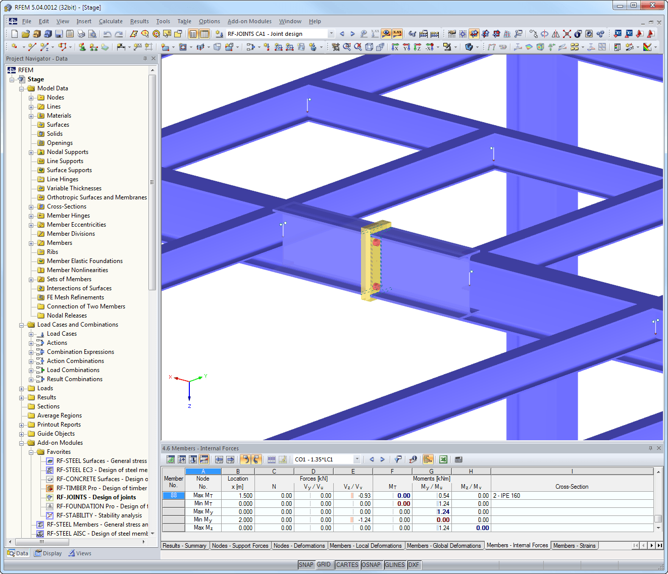 IH joint visualized in RFEM