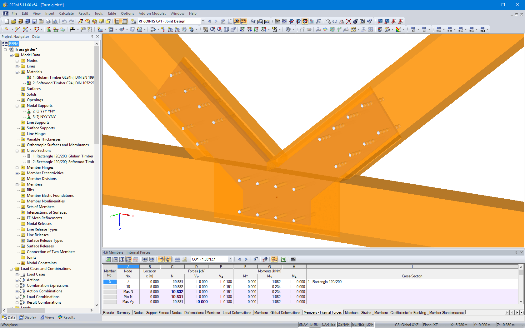 Joint visualized in RFEM