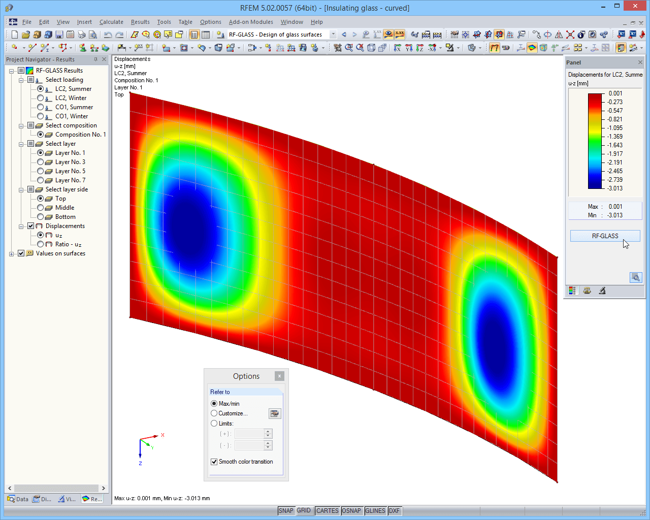Results in RFEM graphic - displacements
