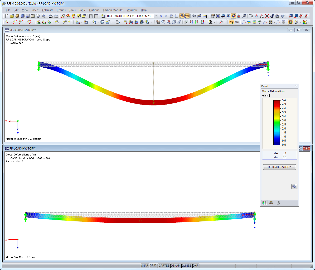 Graphical representation of deformation due to full load and plastic deformation after relief displayed in RFEM