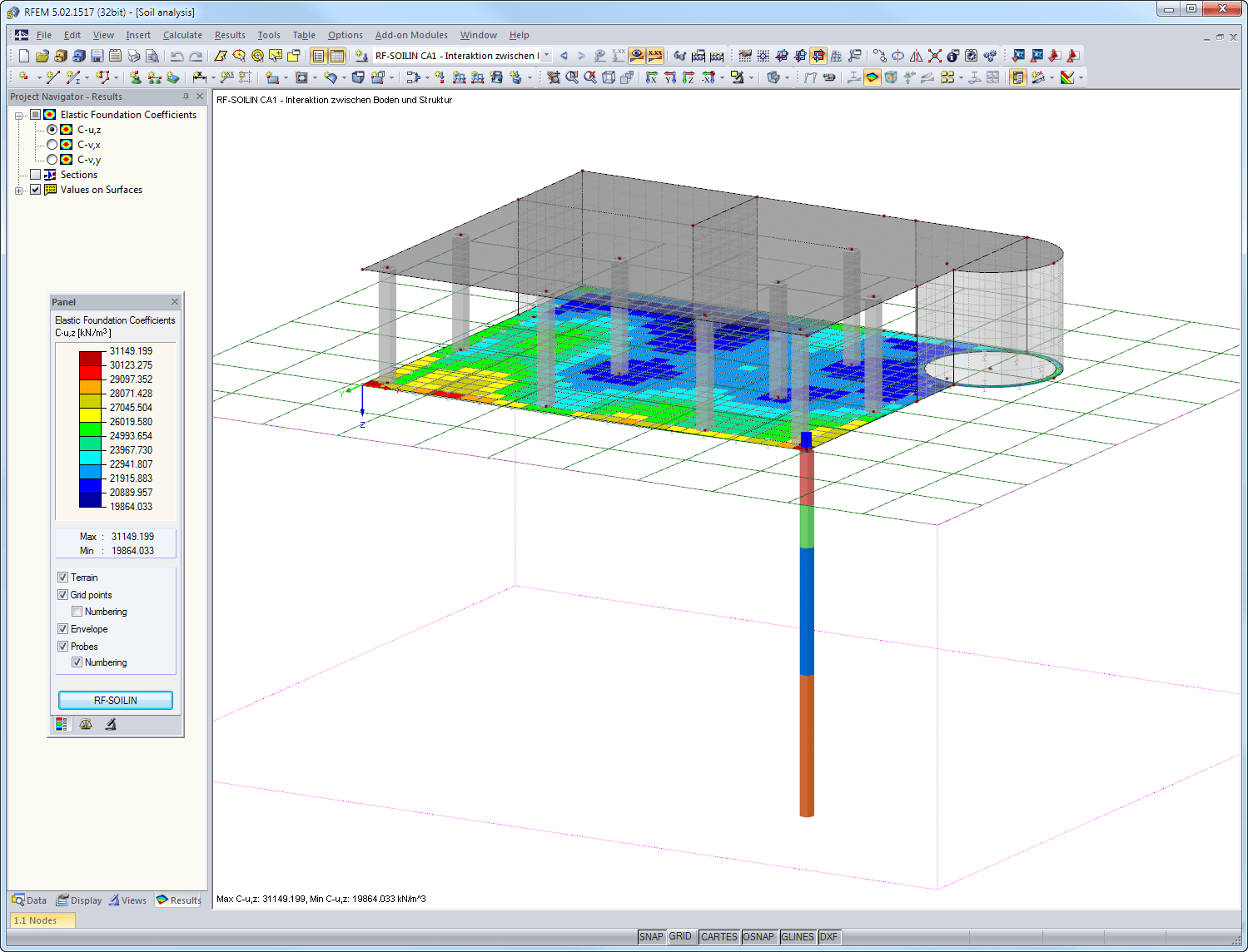 Elastic foundation coefficients shown in RFEM