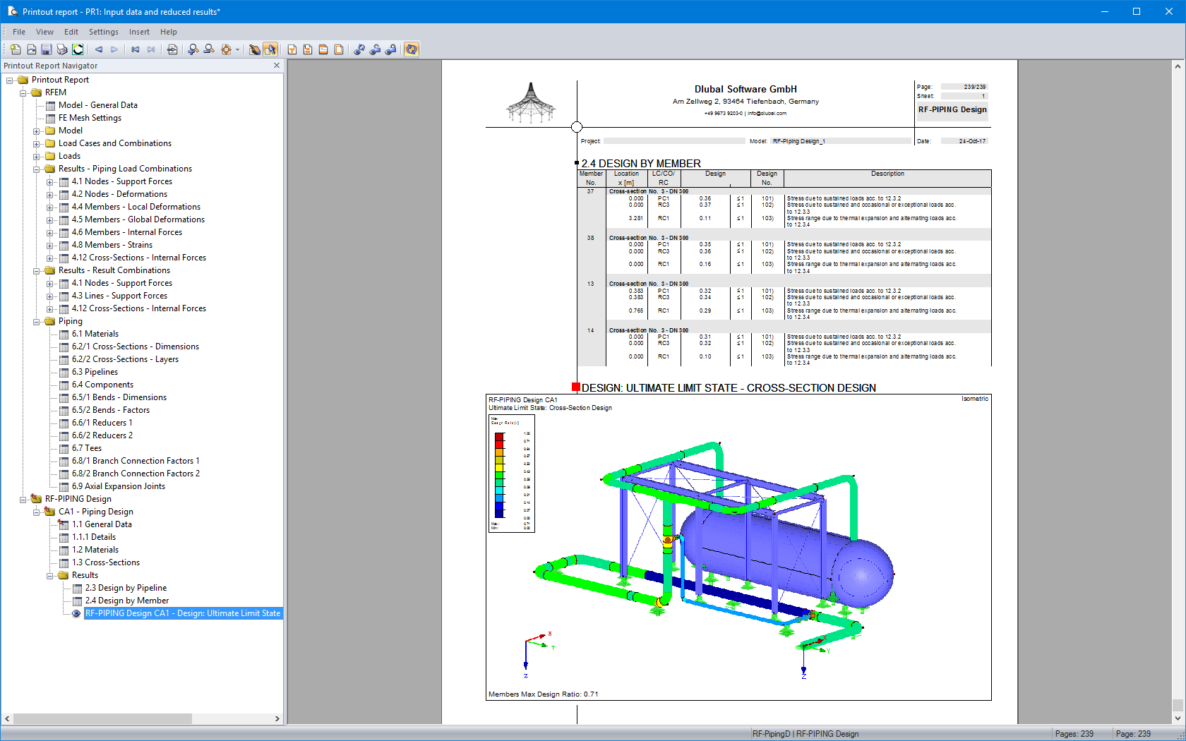 Piping Design And Pipe Stress Analysis Dlubal Software Diagram Program Printout Report