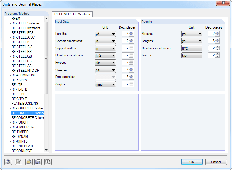 Dialog box for unit settings