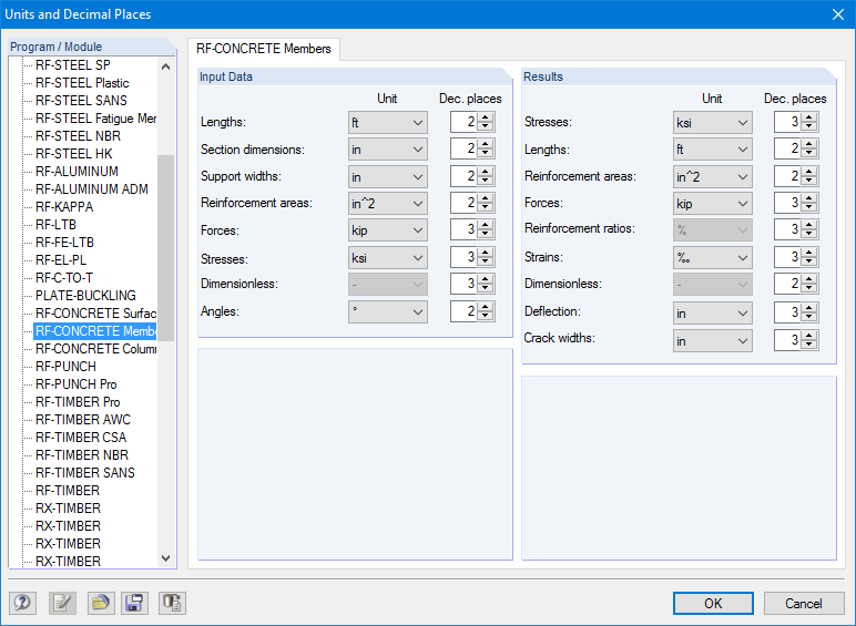 Dialog box for setting units