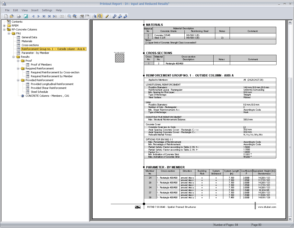 Module data in printout report