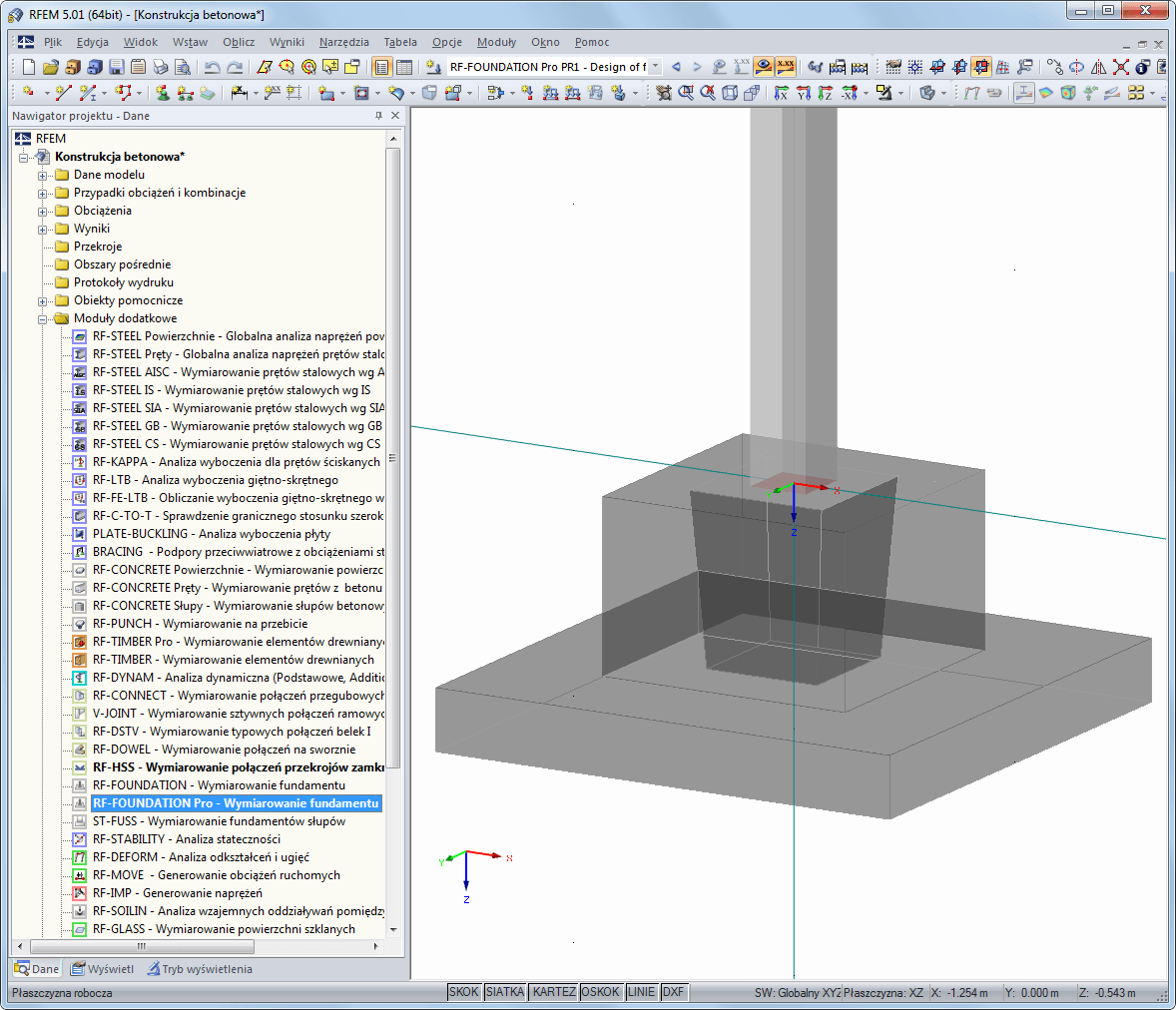 Fundament w renderingu 3D w RFEM