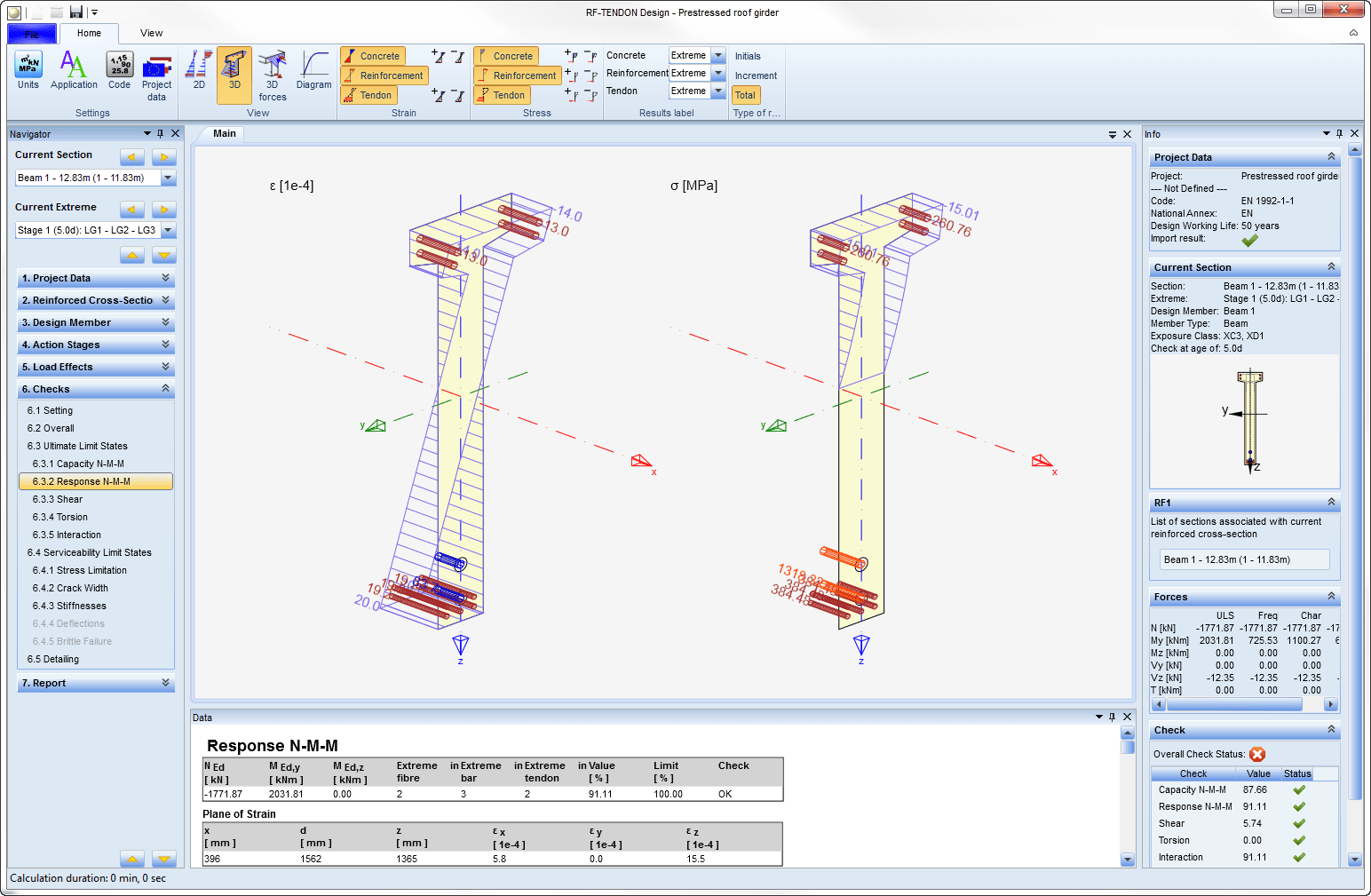 Rf Tendon Design Analysis Of Prestressed Concrete Acc To