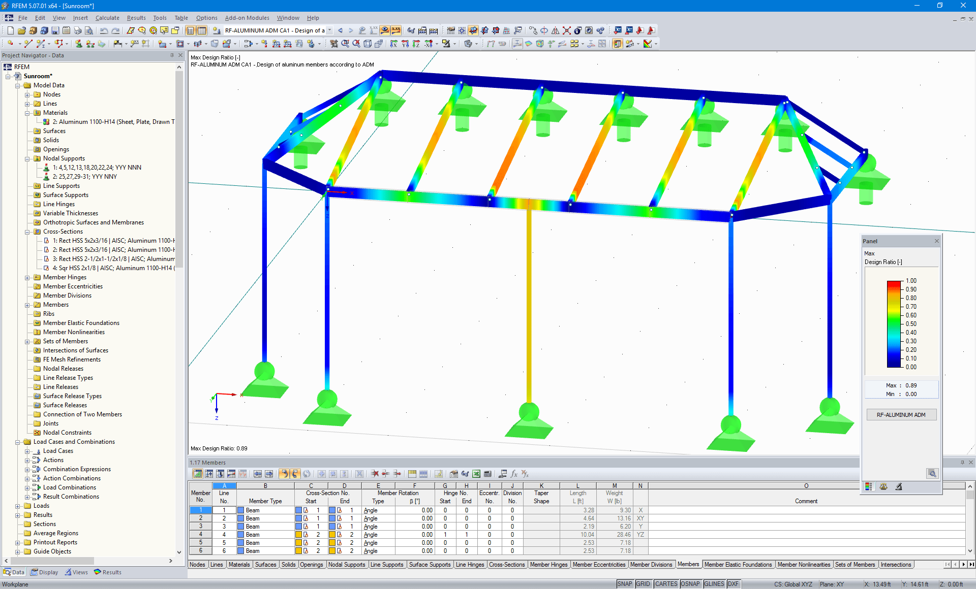 Visualization of design results in RFEM