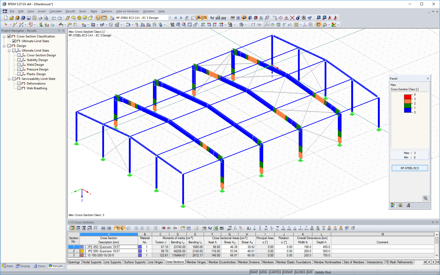 Graphical display of cross-section classes in RFEM