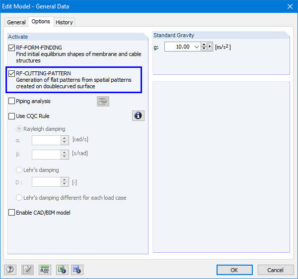 Activating RF-CUTTING-PATTERN in General Data of RFEM