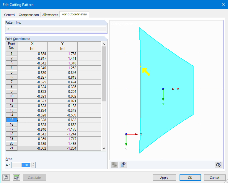Resulting point coordinates of cutting pattern