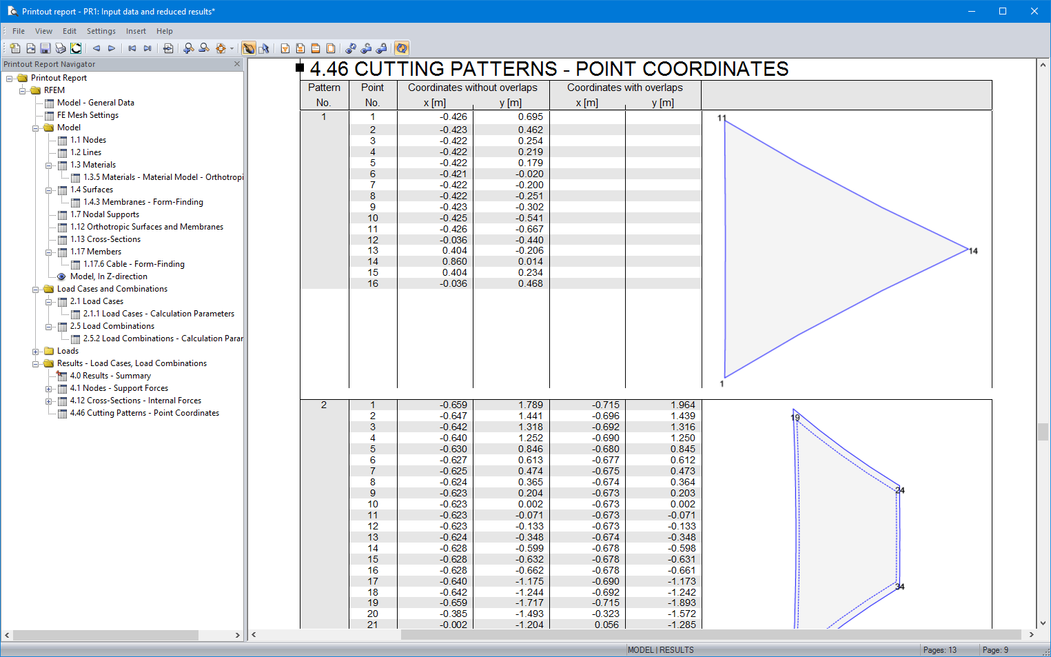 Cutting pattern in printout report