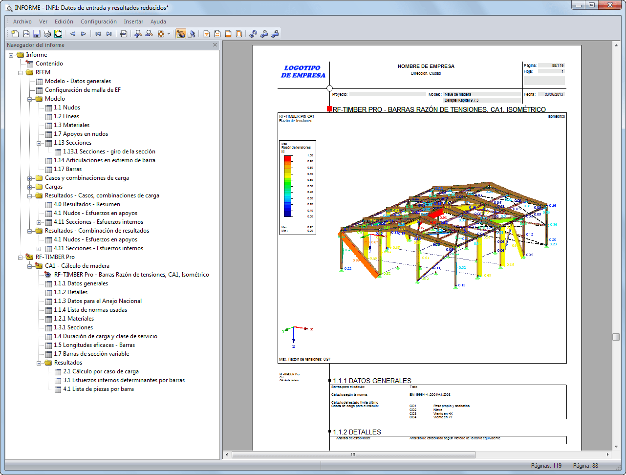 El Informe en RF-RF-TIMBER Pro, disponible en español