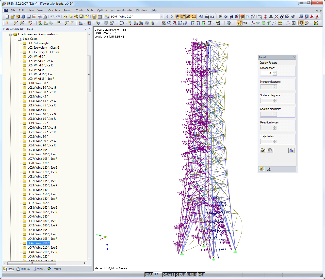 Loads and global deformation in RFEM