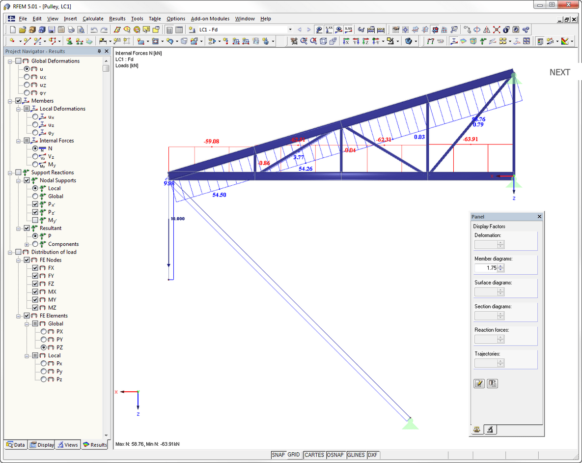 Structural analysis program RFEM - Pulley on cantilever - axial forces