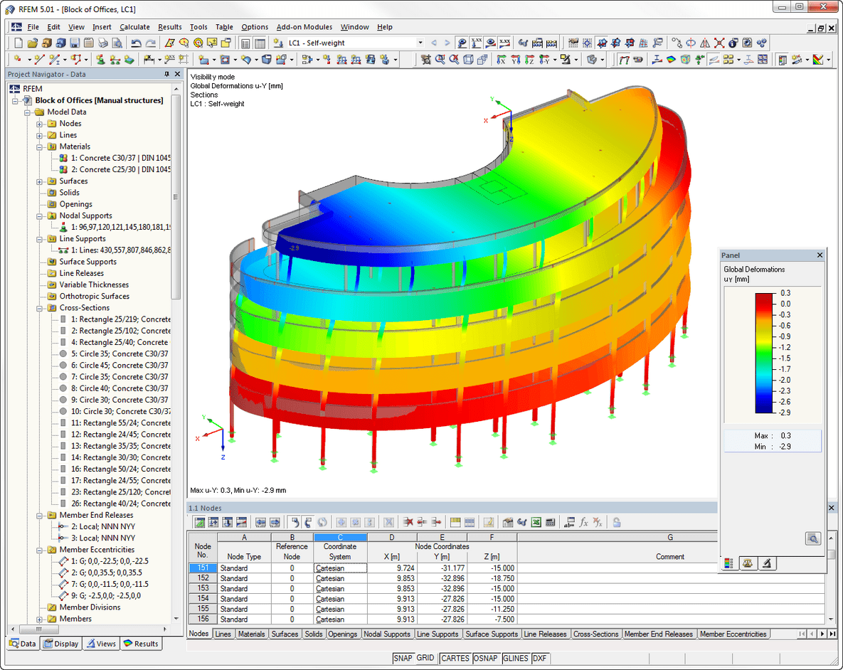 Structural analysis program RFEM - Visualized deformations of an office building