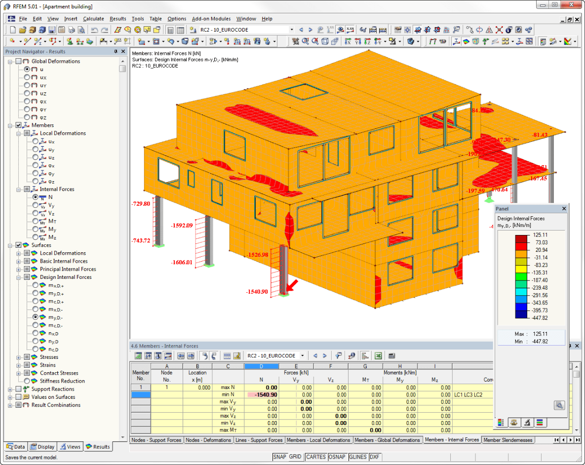 Structural analysis program RFEM - Representation of internal forces for members and surfaces