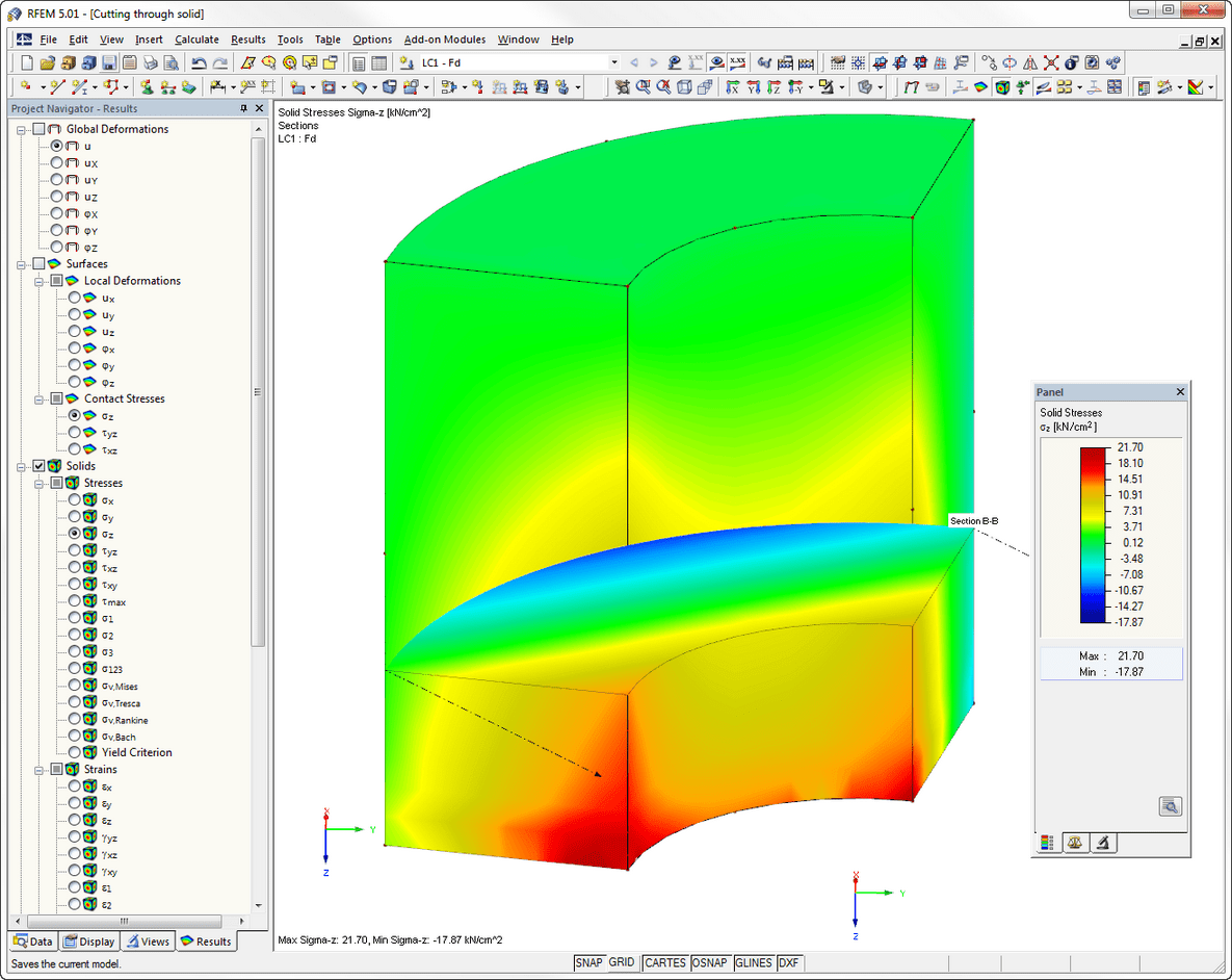 Structural analysis program RFEM - Stress distribution in sectional area of a solid