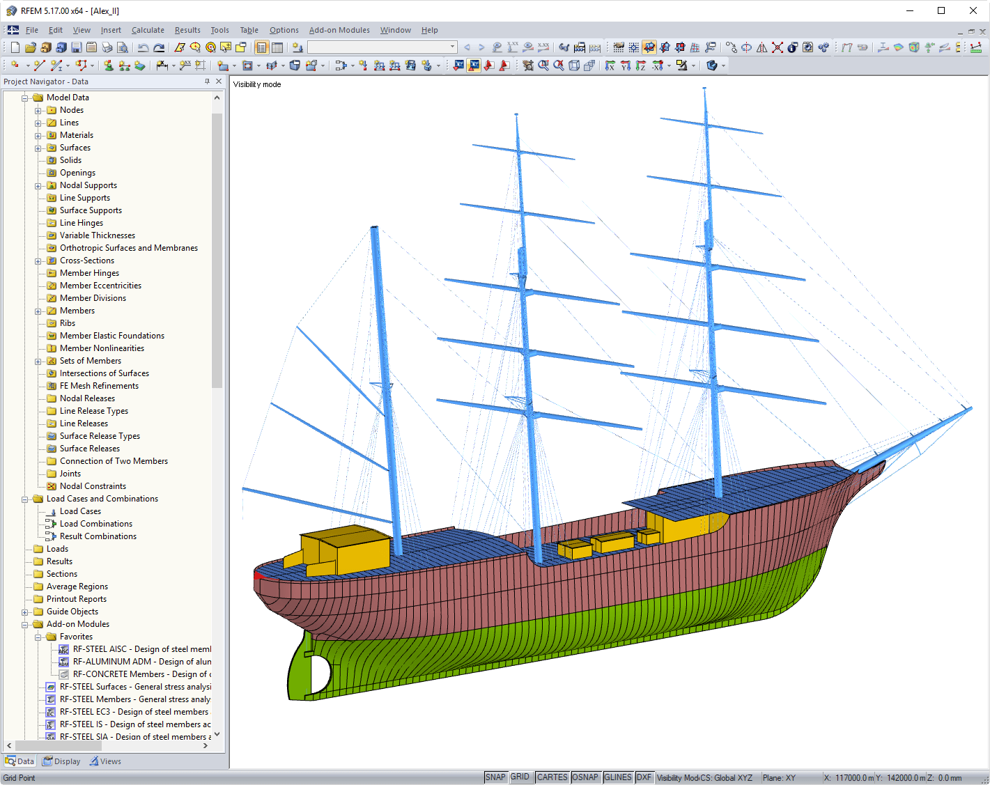 "Reconstruction of Sailing Ship ""Alexander von Humboldt II"" in RFEM (C) Marine Engineering Wollert GmbH, Arnis"