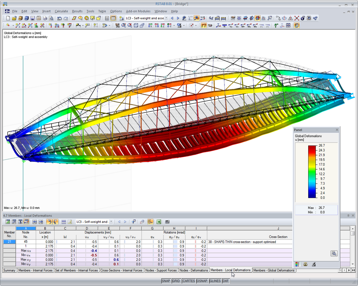 Rstab Structural Analysis Software For Frames And Trusses Dlubal Truss Bridge Diagram Through Deformations