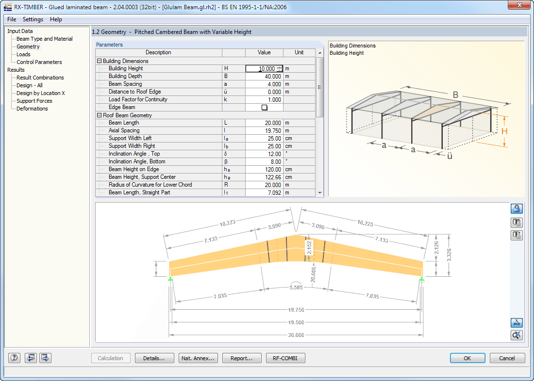 1.2 Geometry for roof beam