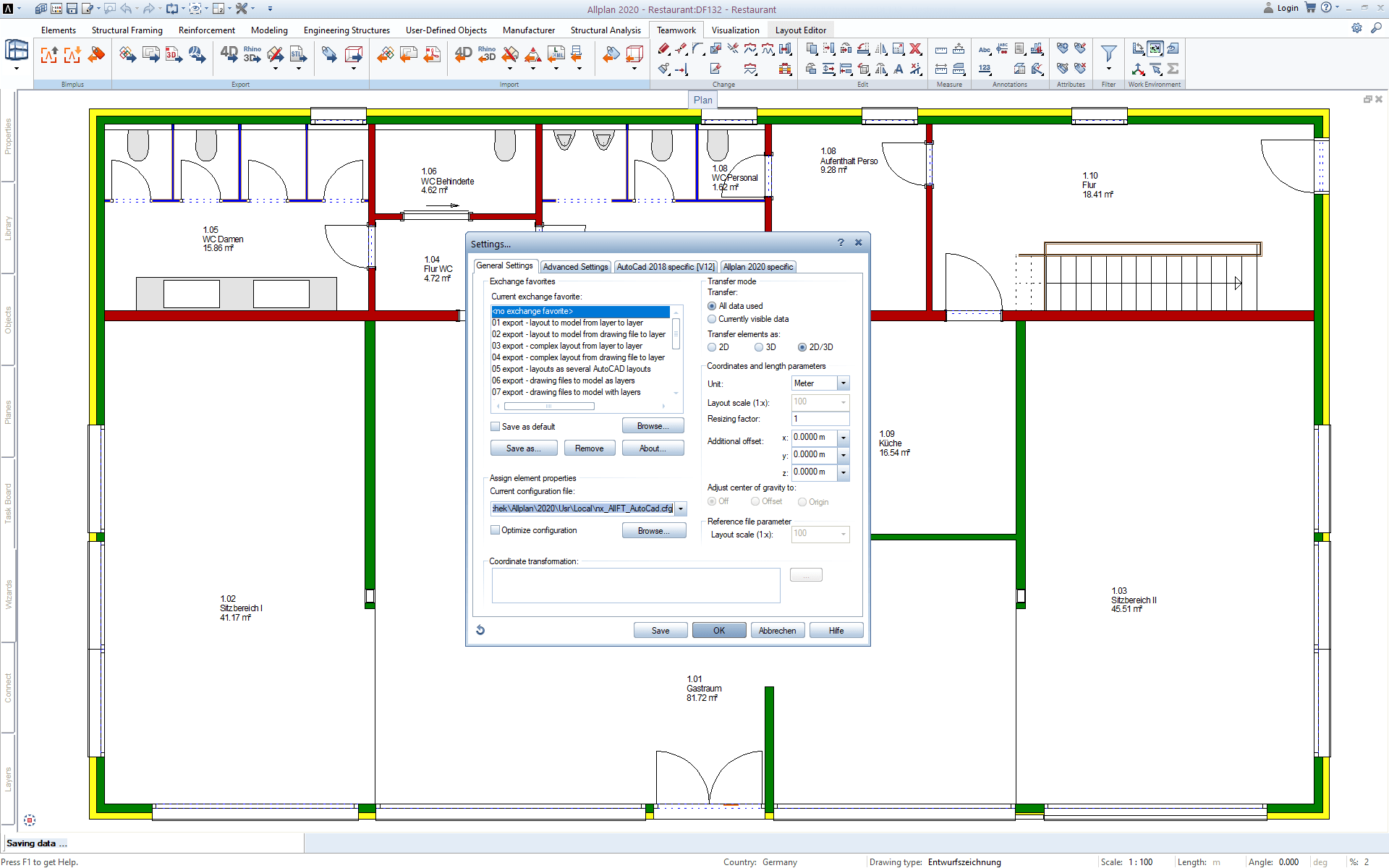 Exporting Allplan Floor Plan as DXF