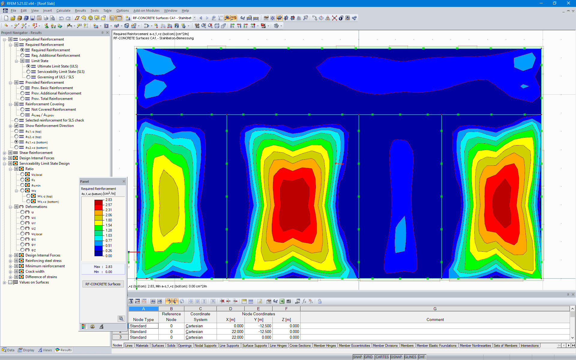 Reinforcement Determined in RF-CONCRETE Surfaces