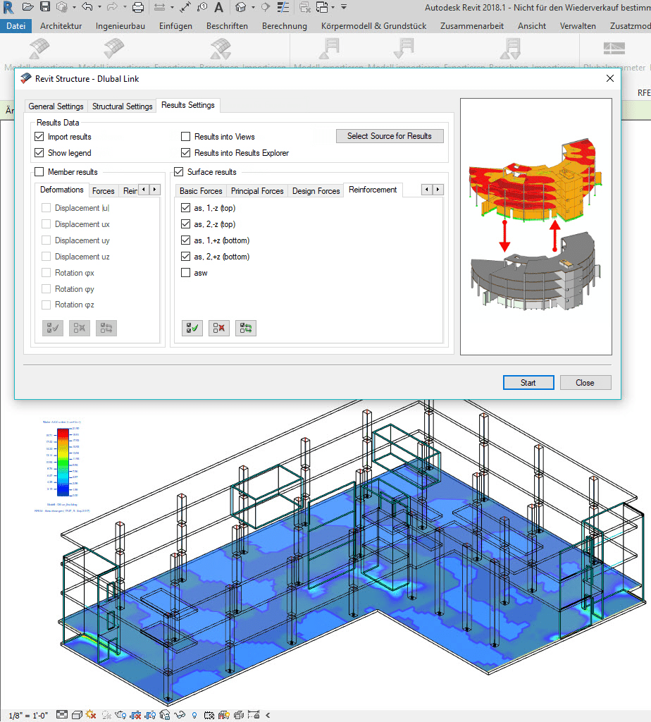 Export of reinforcement from RFEM and visualization in Revit