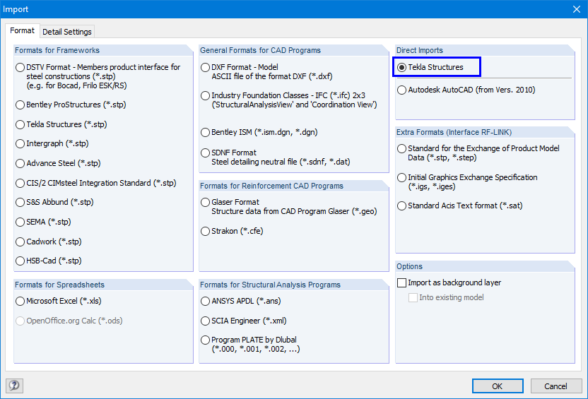 """Import"" dialog box of RFEM - Direct import to RFEM"