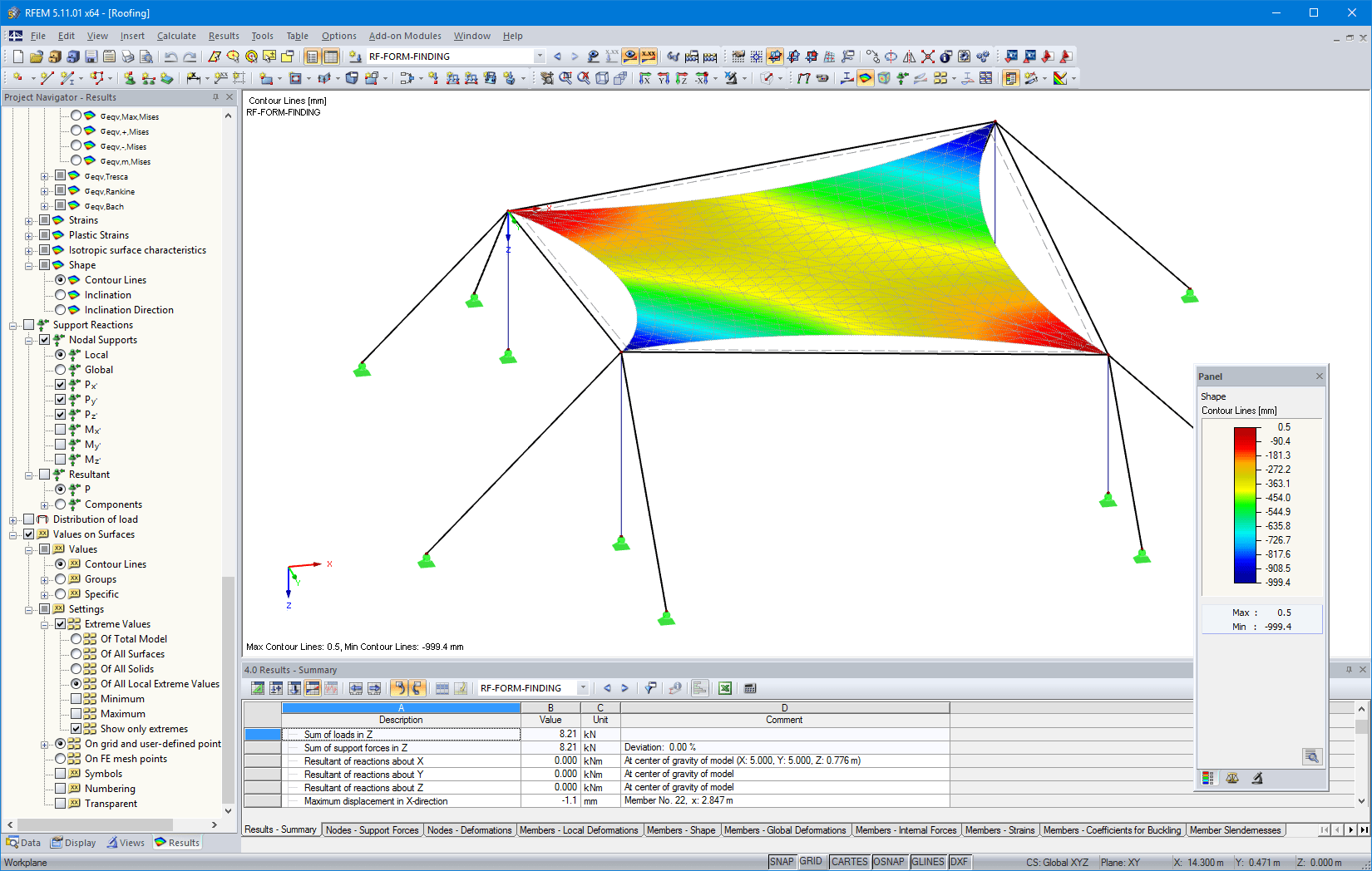Contour lines after form-finding in RFEM